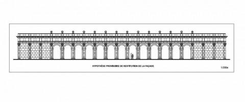 Reconstitution de la façade antique de Pont-Sainte-Maxence (Oise). | CHRISTOPHE GASTON/INRAP