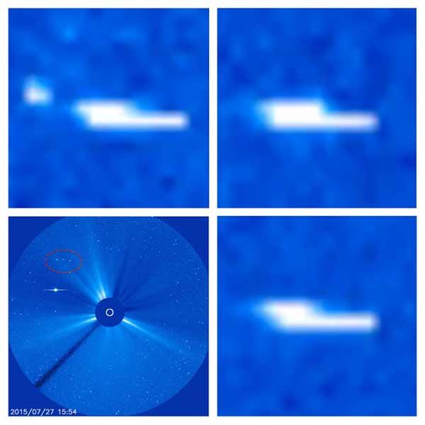 Une flotte de Trois Vaisseaux passant devant le soleil photographiée par le satellite SOHO de la NASA