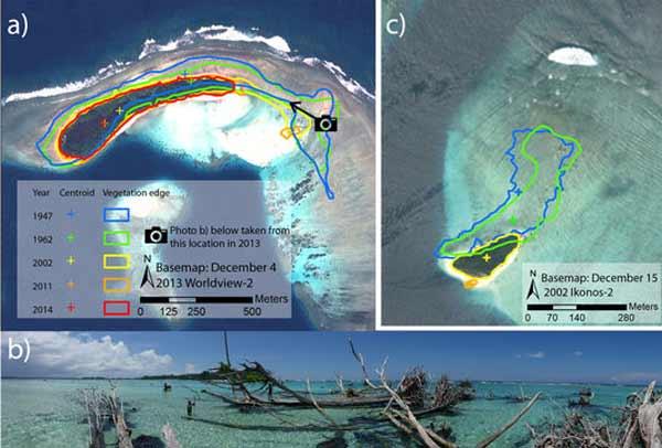 cinq îles des Salomon disparues sous les eaux du Pacifique