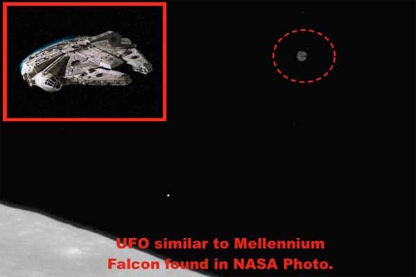 Le Faucon Millennium vole près de la Lune aux côtés des astronautes d'Apollo 11