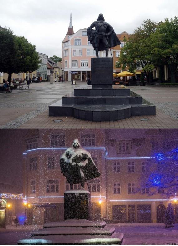 Cette statue se transforme en Darth Vader une fois recouverte de neige