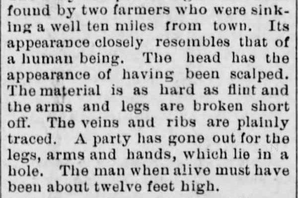 Un géant de 3,5 mètres de haut avait été découvert aux USA en 1885