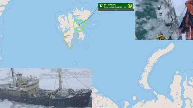 Un navire transportant des « guerriers du changement climatique » préoccupés par la fonte des glaces de l'Arctique se retrouve coincé dans la glace